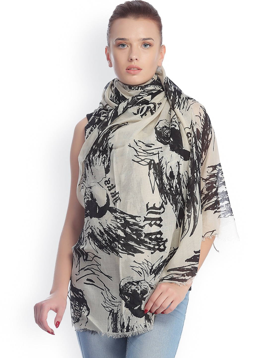CoolThreads Off-White & Black Printed Stole