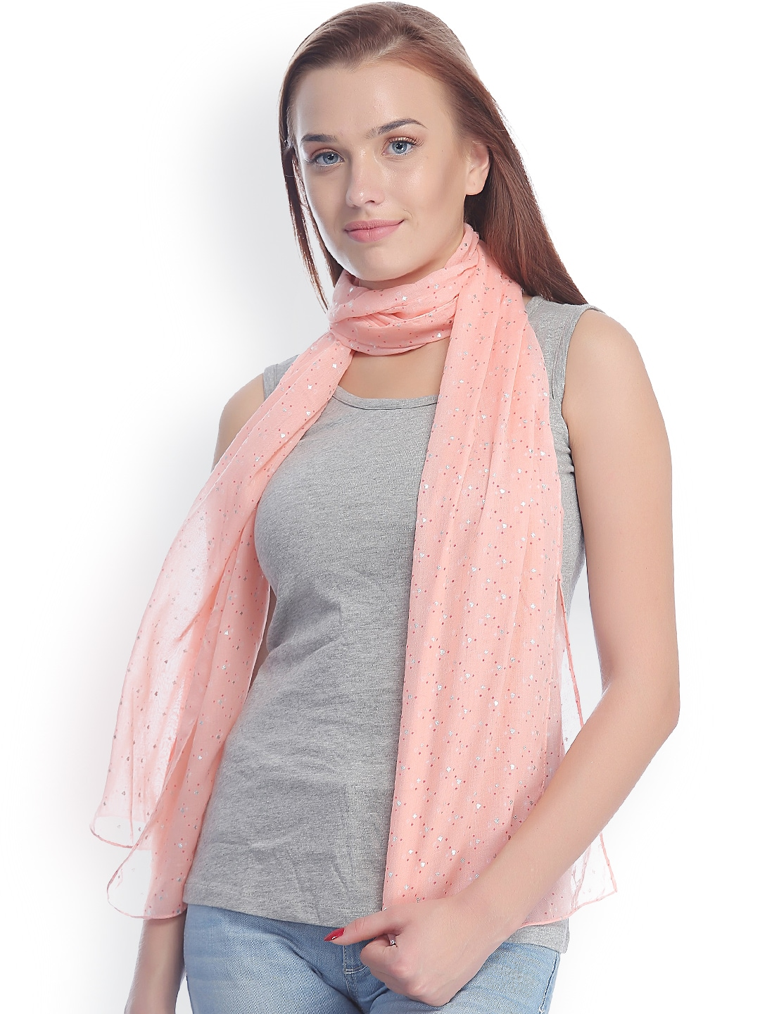 CoolThreads Peach-Coloured Printed Stole