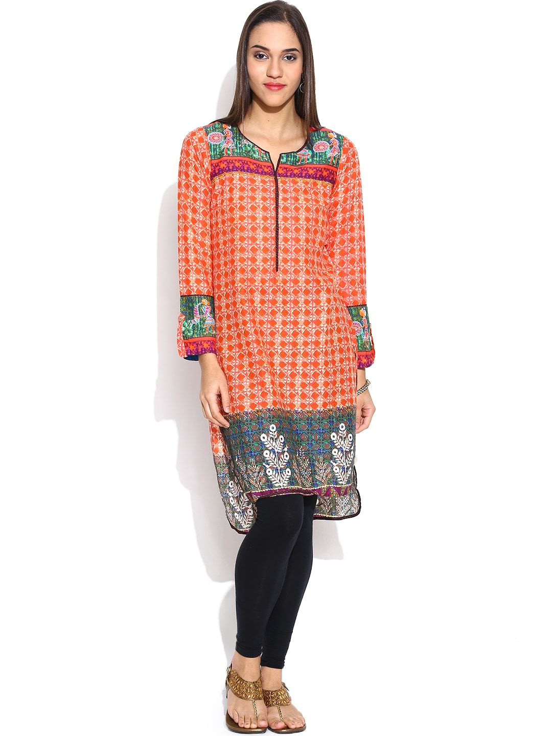 BIBA Orange Printed Kurta