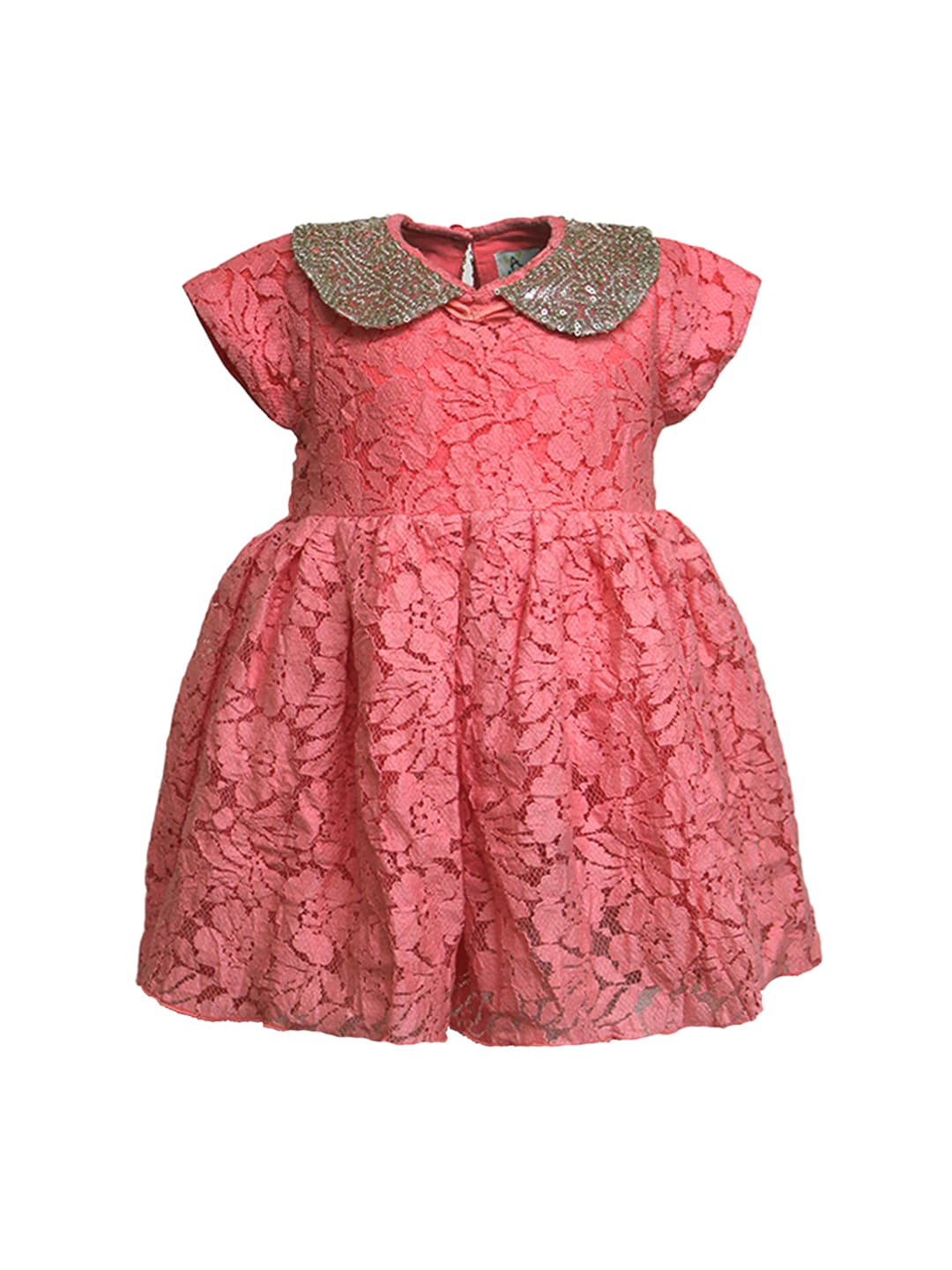A Little Fable Girls Coral Pink Lace Fit & Flare Dress
