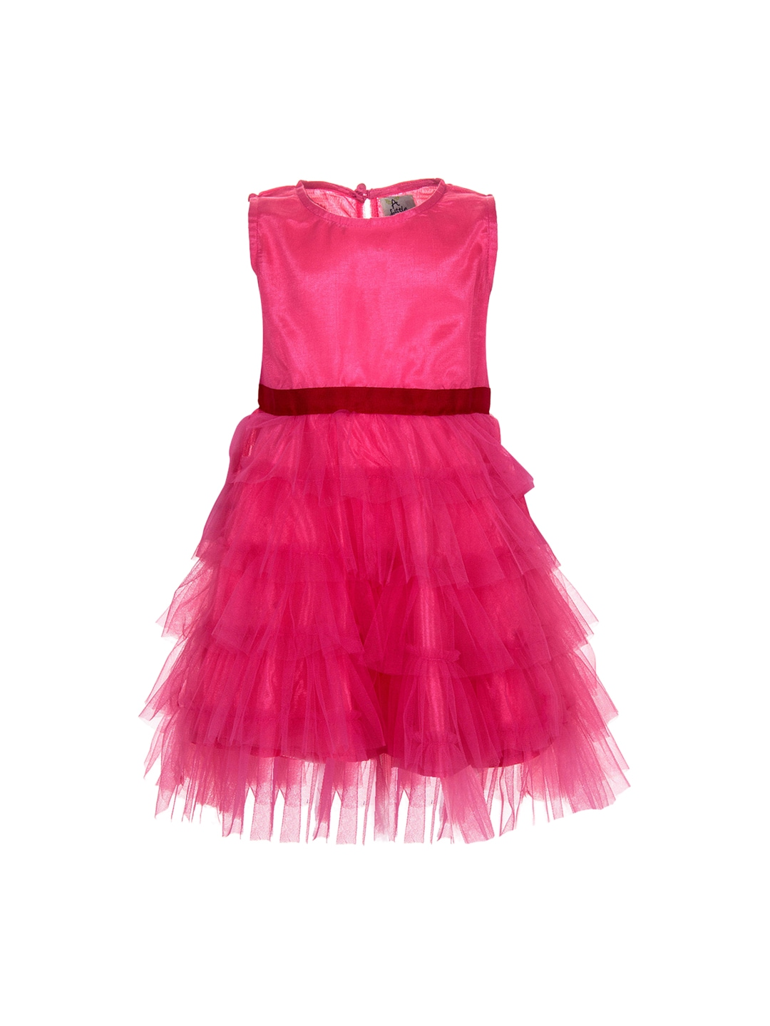 A Little Fable Girls Pink Layered Dress