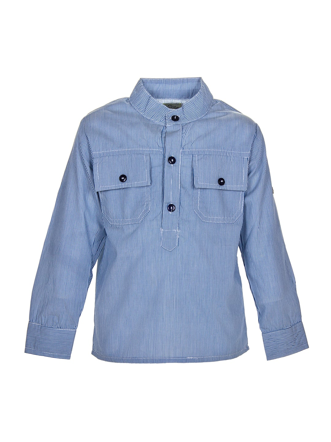 A Little Fable Boys Blue Striped Casual Shirt