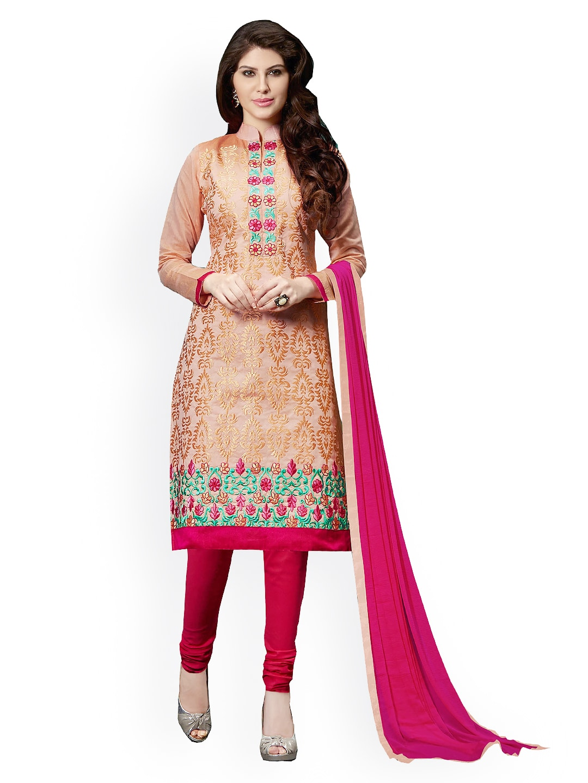 Blissta Beige & Pink Embroidered Chanderi Cotton Semi-Stitched Dress Material
