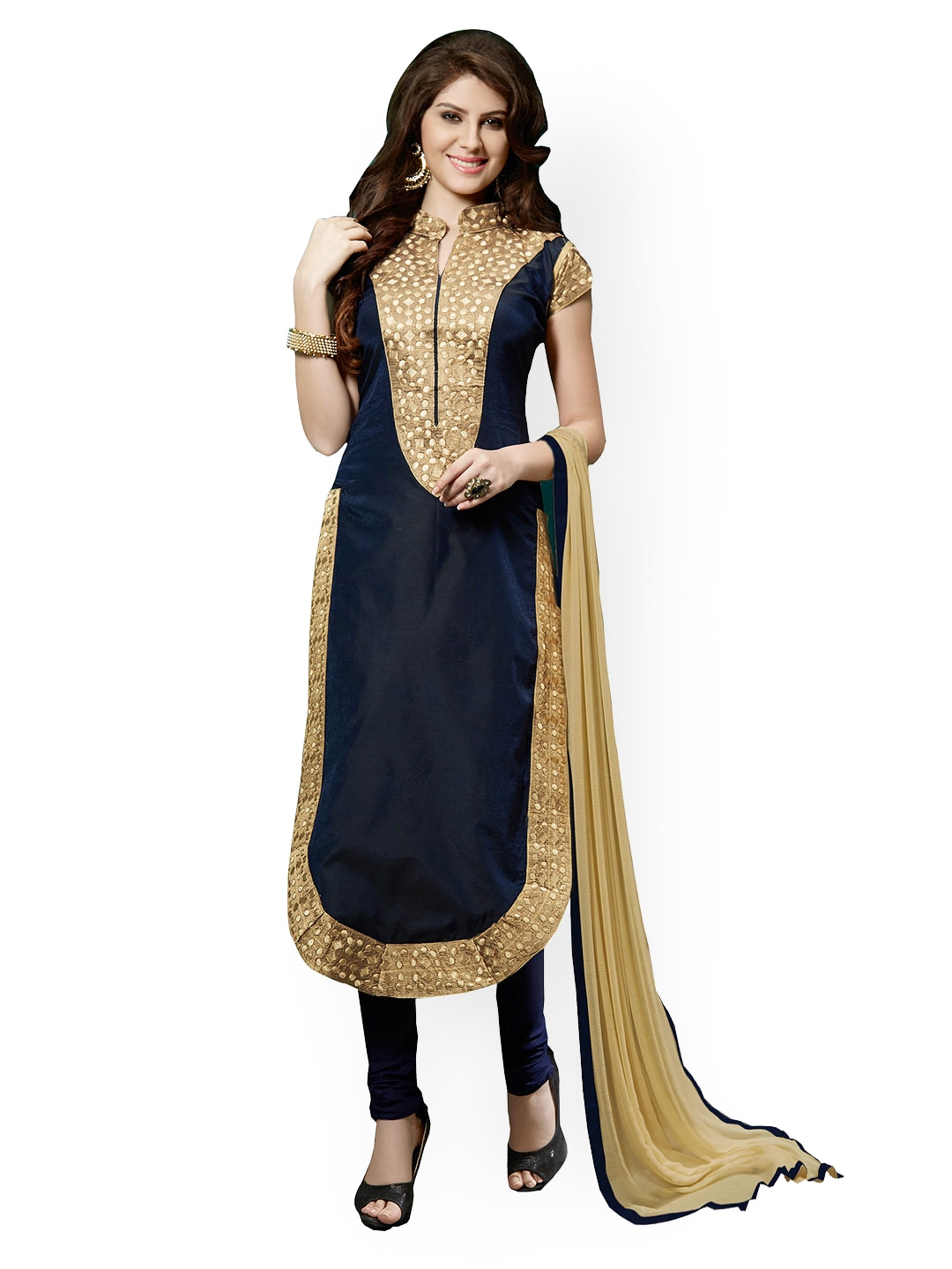 Blissta Blue Embroidered Chanderi Cotton Semi-Stitched Dress Material
