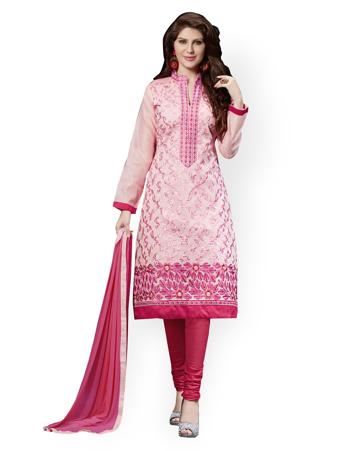 6919612fa7 56%off Blissta Pink Embroidered Chanderi Cotton Semi-Stitched Dress Material