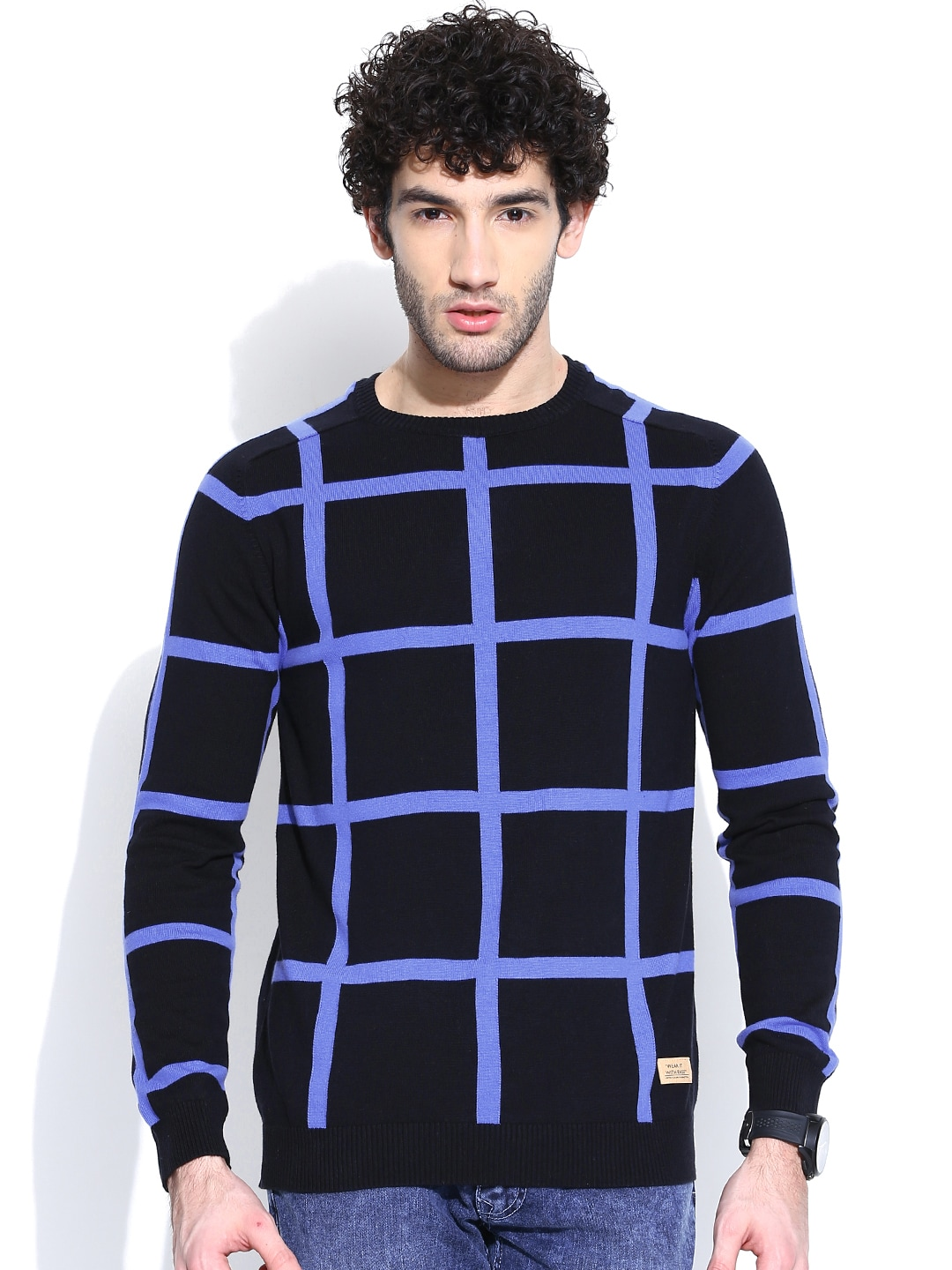 United Colors of Benetton Black Checked Sweater