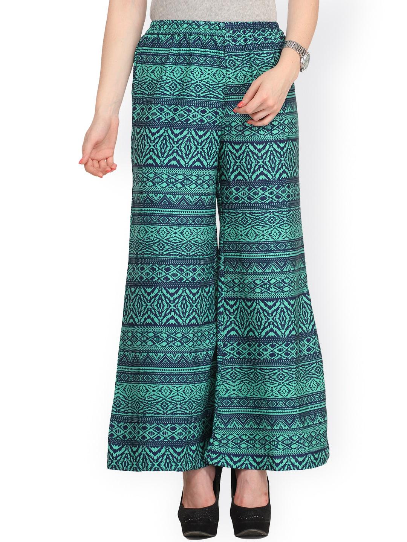 Cottinfab Green & Blue Printed Palazzo Trousers