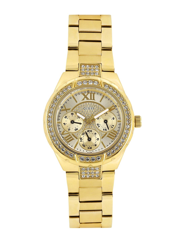 GUESS Women Gold-Toned Dial Watch W0111L2