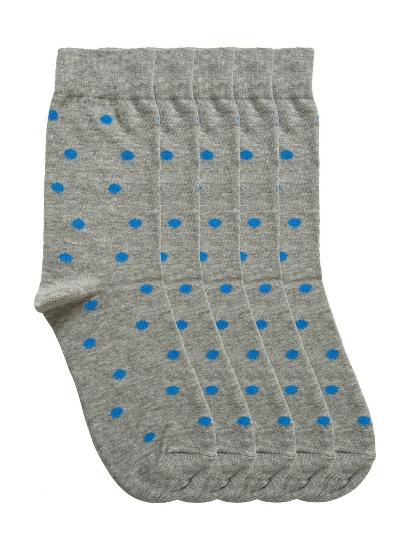 Tossido Men Set of 5 Grey Melange Polka Dot Socks