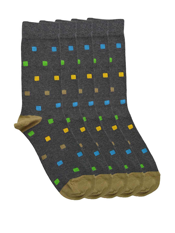 Tossido Men Set of 5 Charcoal Grey Patterned Socks