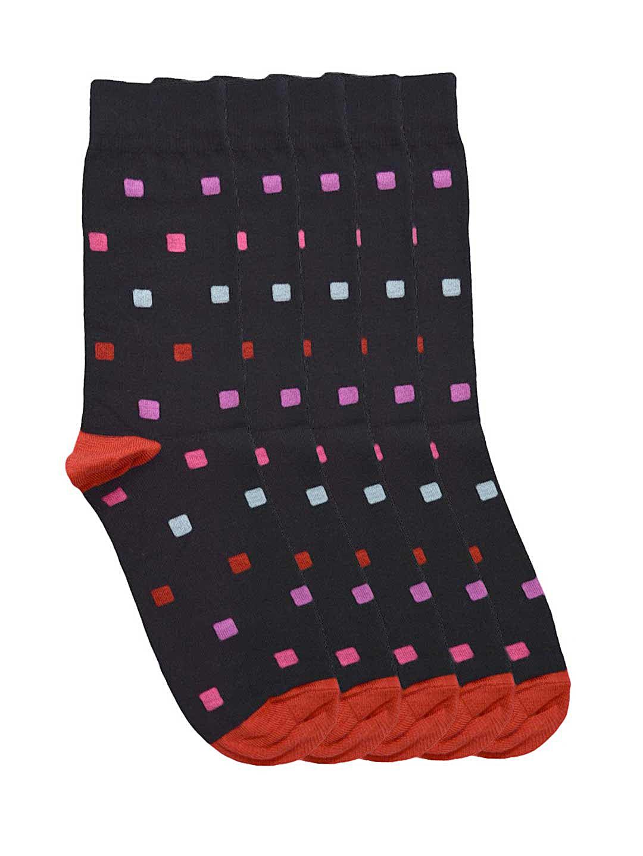 Tossido Men Set of 5 Black Patterned Socks