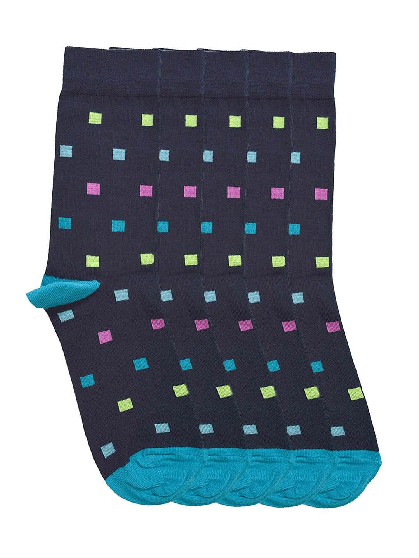 Tossido Men Set of 5 Navy Patterned Socks