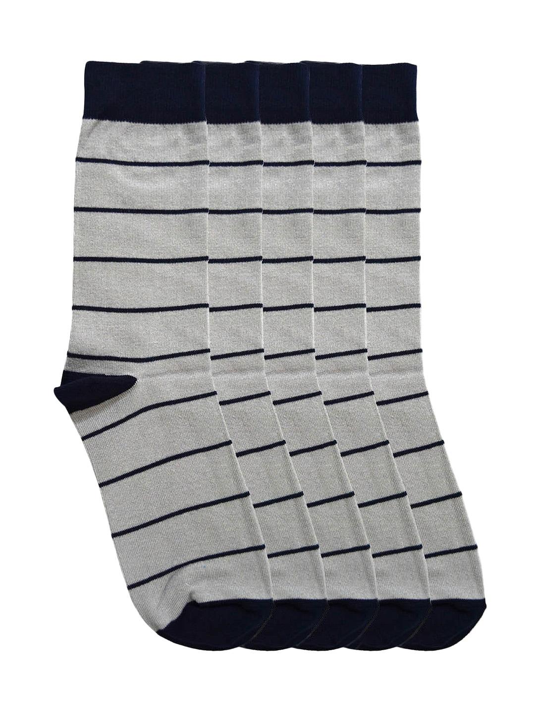 Tossido Men Set of 5 Grey Striped Ankle-Length Socks