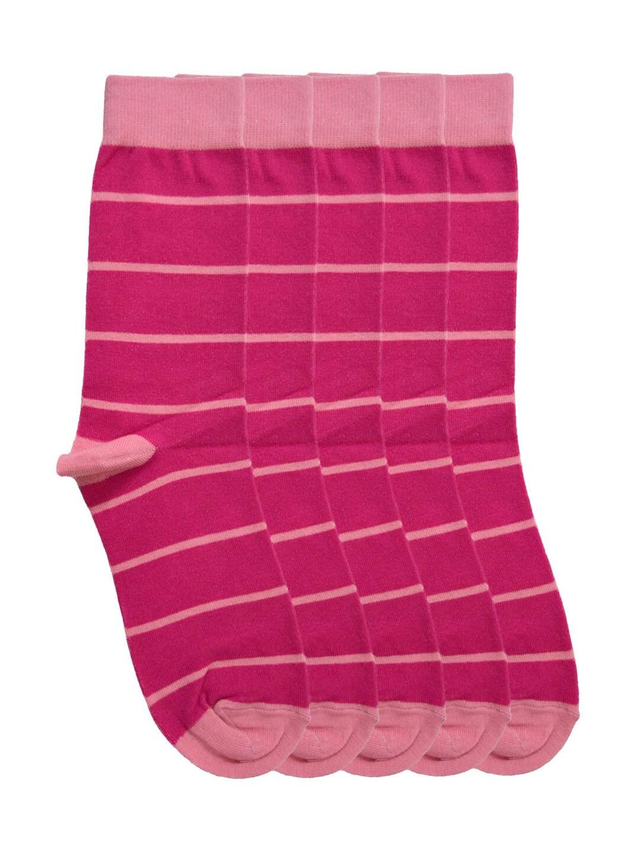 Tossido Men Set of 5 Pink Striped Above Ankle-Length Socks