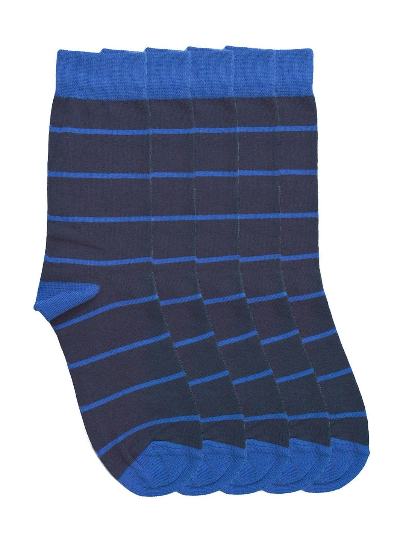 Tossido Men Set of 5 Navy Striped Above Ankle-Length Socks