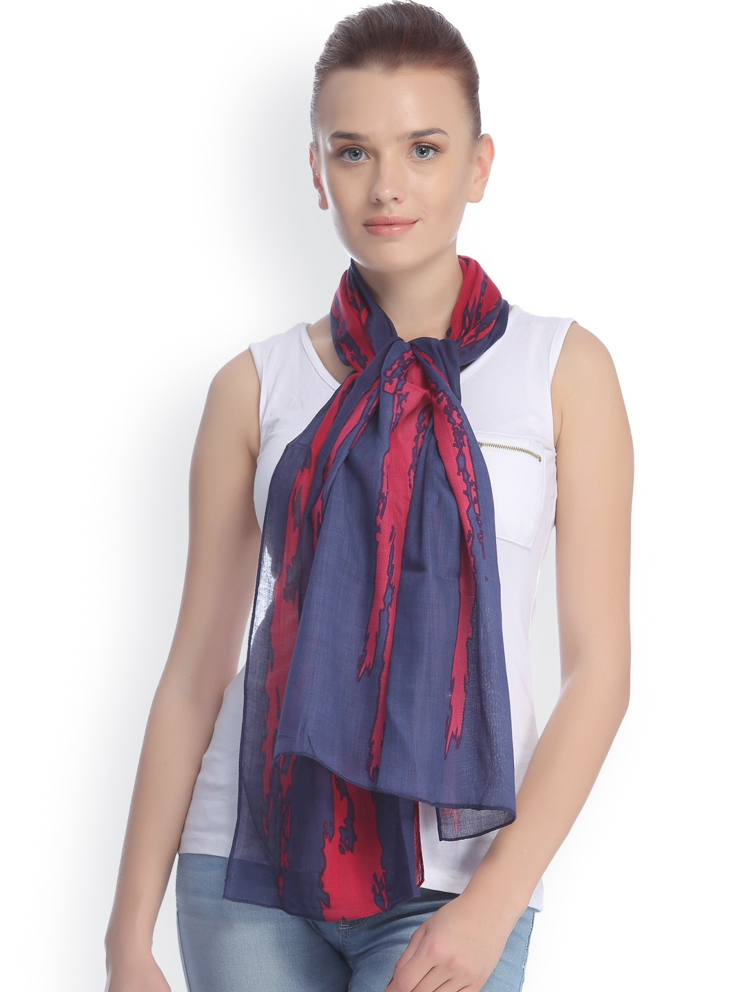 CoolThreads Navy & Red Printed Stole