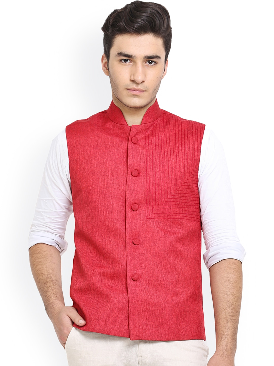 Shaftesbury London Red Jute Nehru Jacket