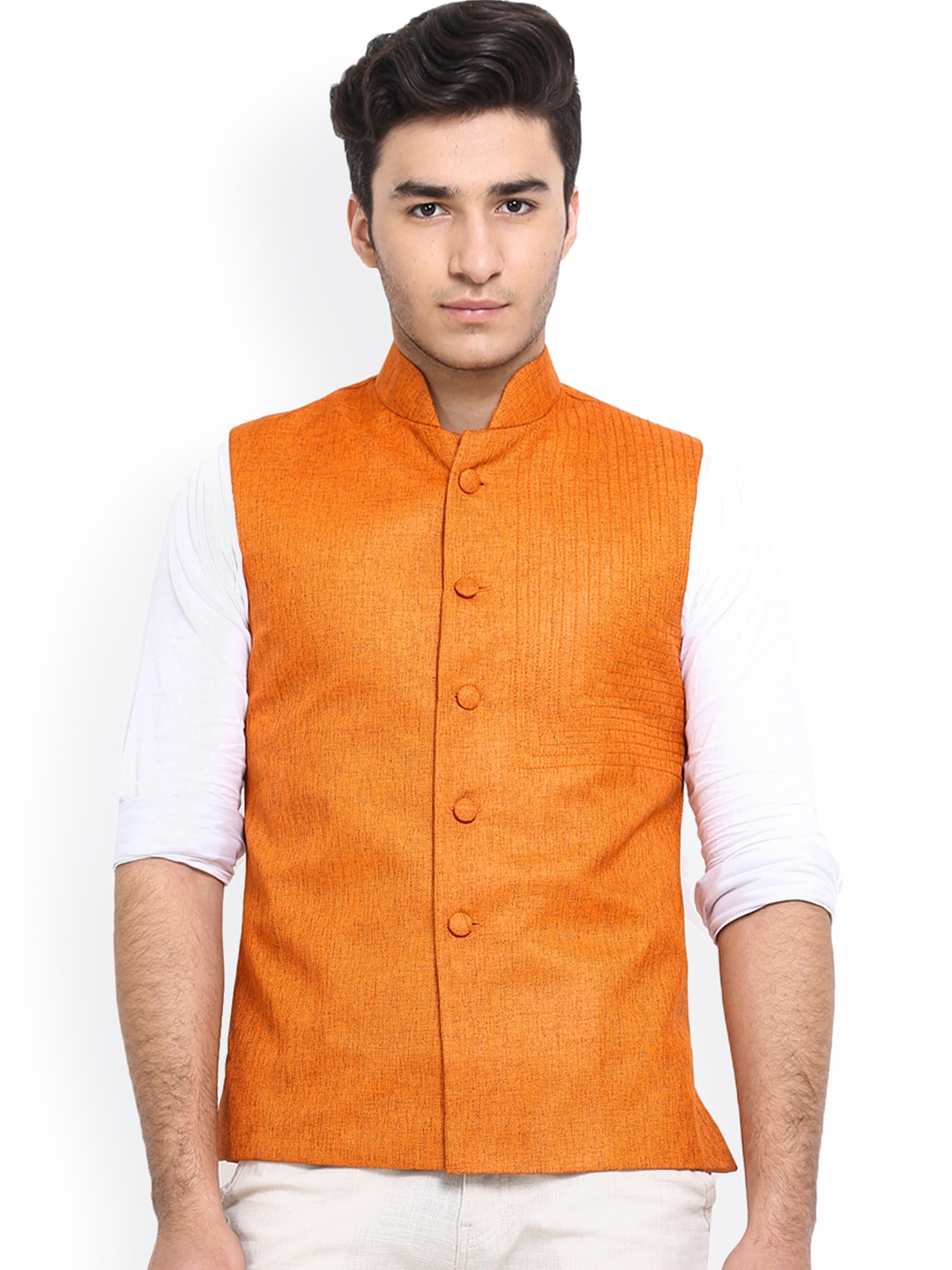 Shaftesbury London Orange Jute Nehru Jacket