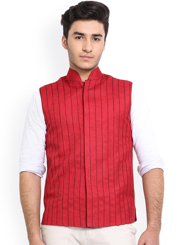 Shaftesbury London Red Striped Jute Nehru Jacket