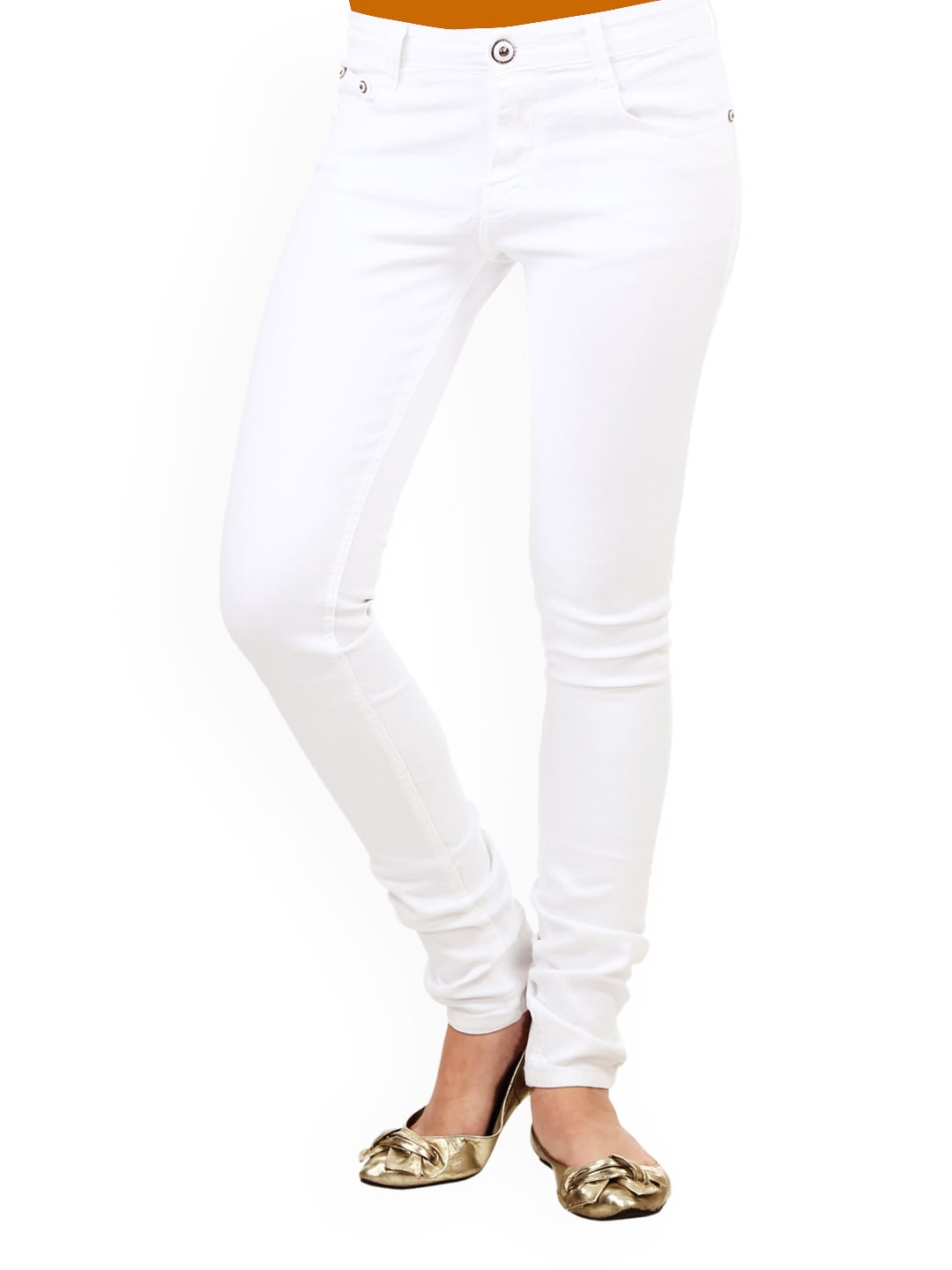 Buy 20D Women White Slim Fit Jeans 1381805 for online in india on
