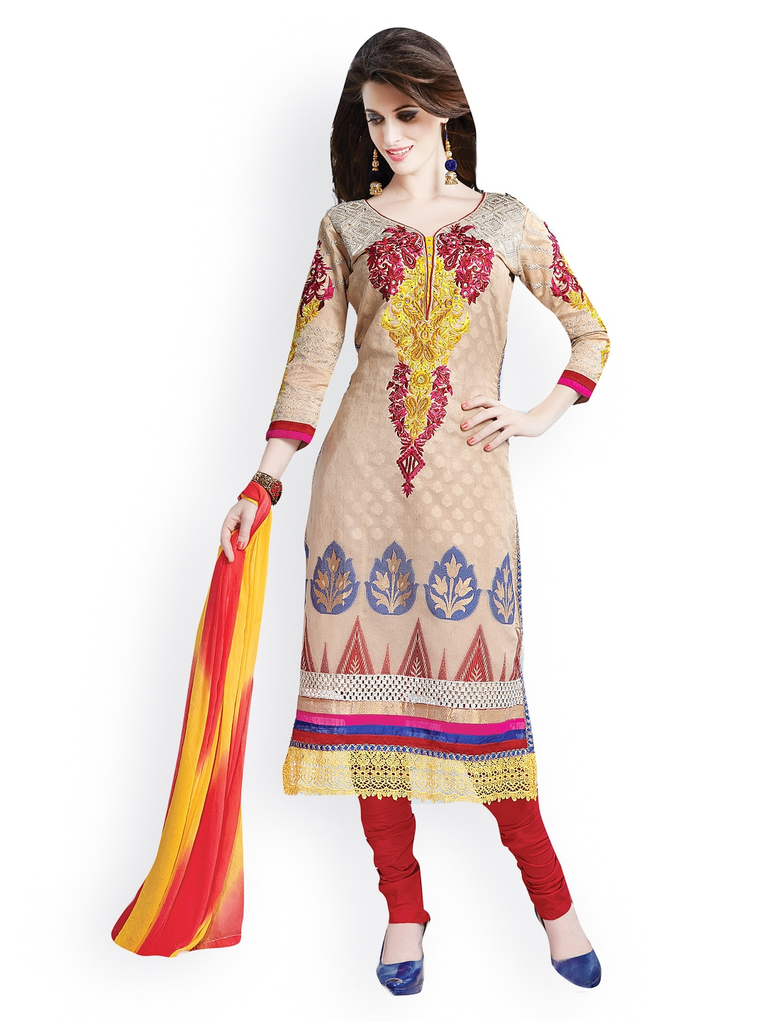 Lifestyle 7 Colors Life Style Cream-Coloured & Red Banarasi Art Silk Unstitched Dress Material (Yellow)