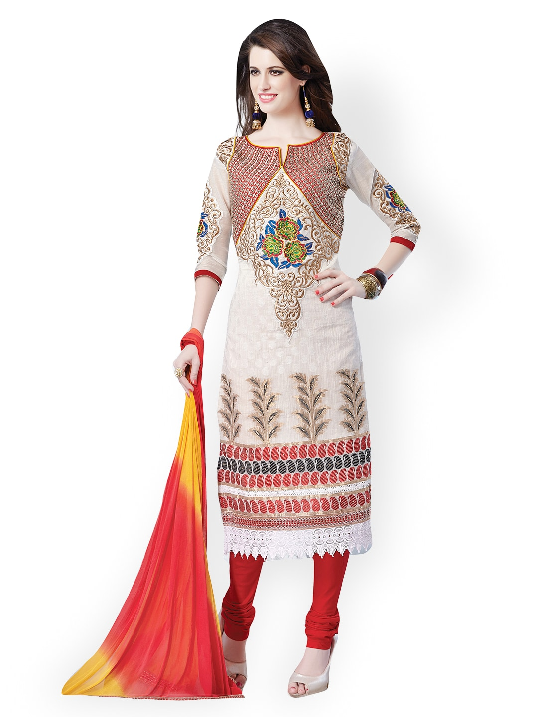 Lifestyle 7 Colors Life Style Off-White & Red Banarasi Art Silk Unstitched Dress Material (Multicolor)