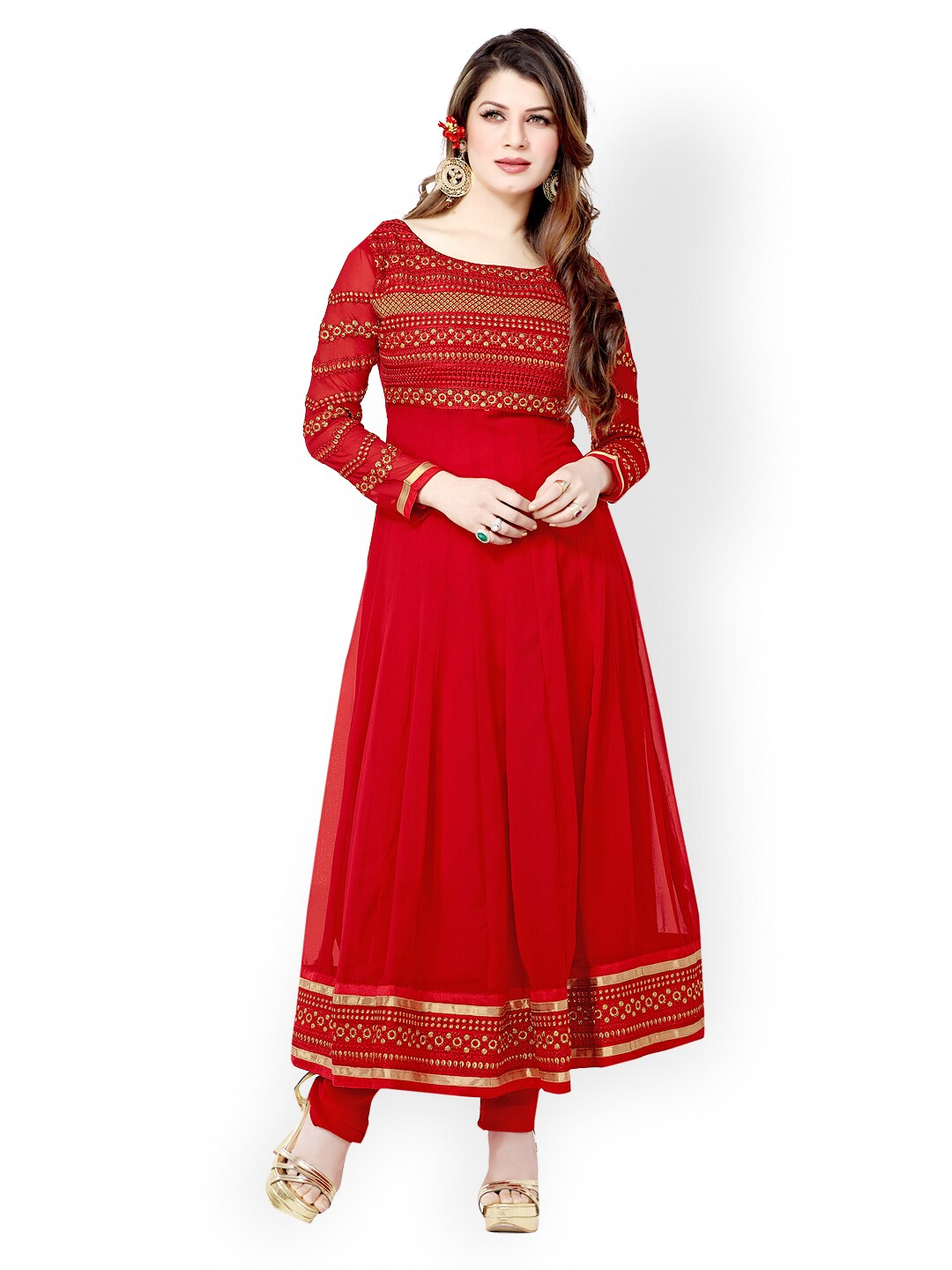 Lifestyle 7 Colors Life Style Red Georgette Semi-Stitched Anarkali Dress Material