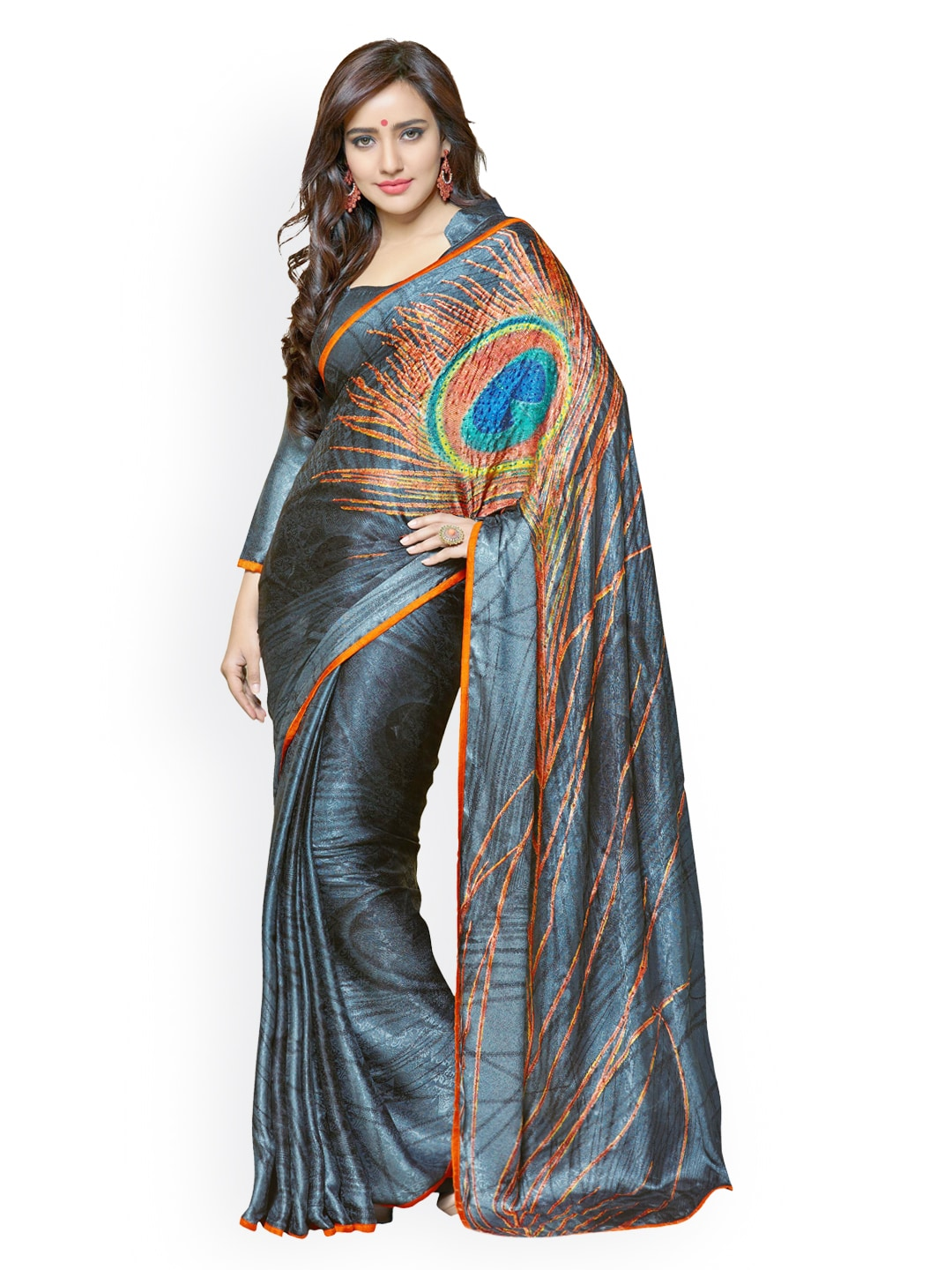 Lifestyle 7 Colors Life Style Dark Grey Georgette & Jacquard Fashion Saree (Multicolor)