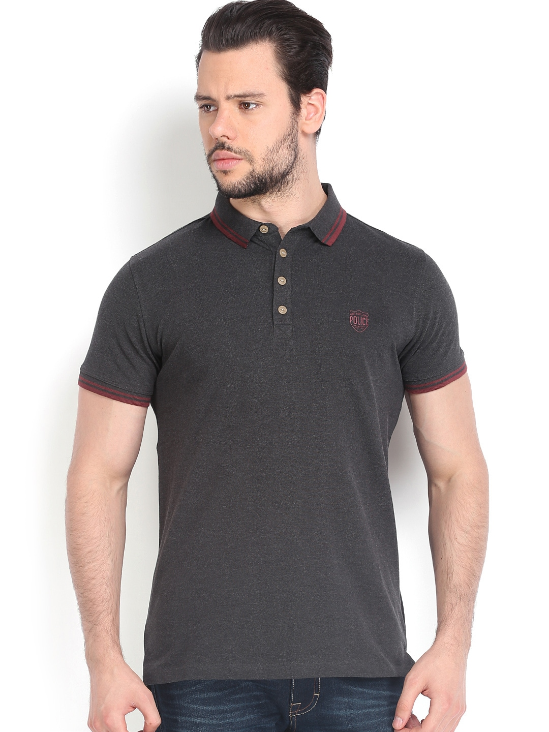 Police 883 Police Men Charcoal Grey Polo T-Shirt (Multicolor)