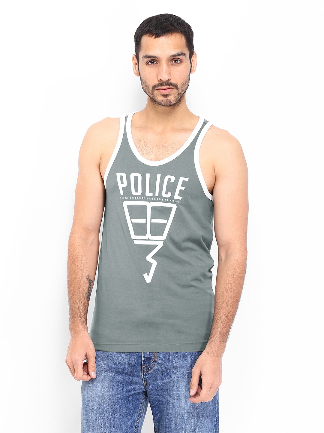 Police 883 Police Men Dark Grey Innerwear Vest (Multicolor)