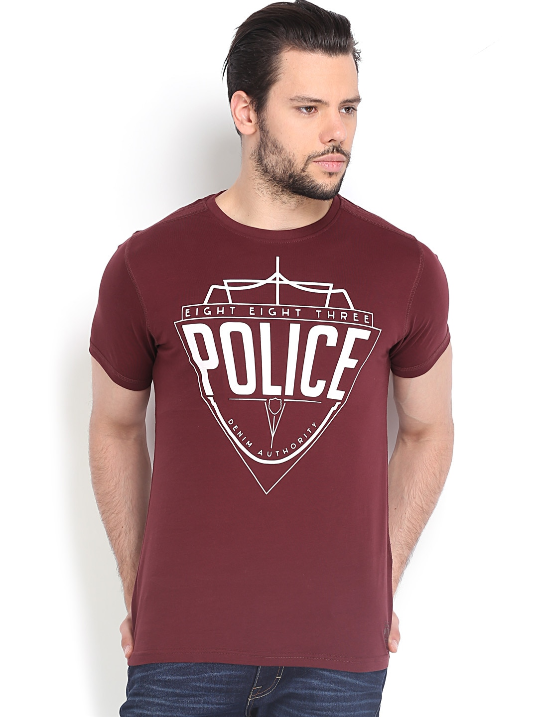 Police 883 Police Men Maroon Printed T-Shirt (Multicolor)