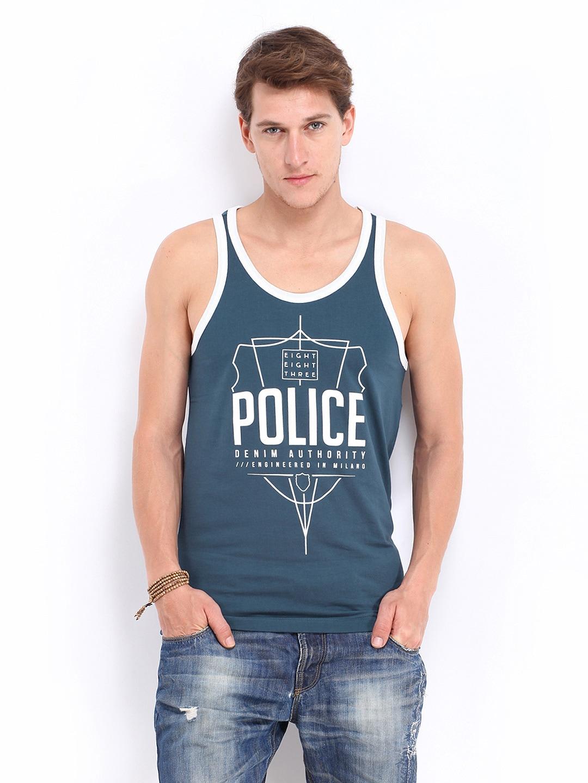 Police 883 Police Men Navy Printed Innerwear Vest (Blue)