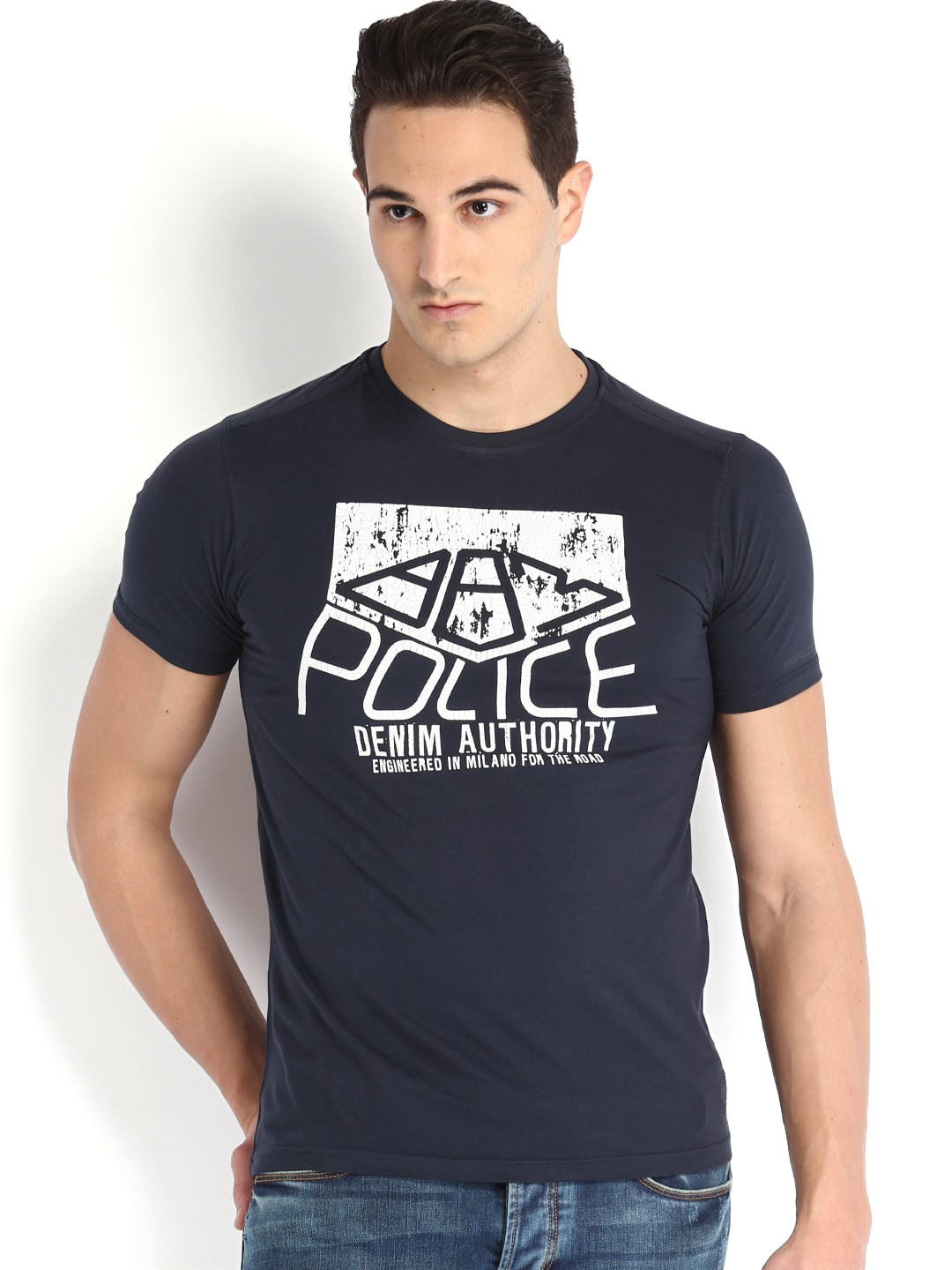 Police 883 Police Men Navy Printed T-Shirt (Multicolor)