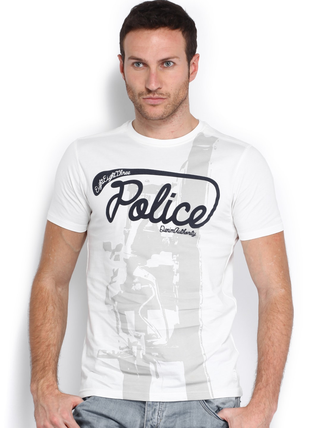 Police 883 Police Men Off-White Printed T-Shirt (Multicolor)