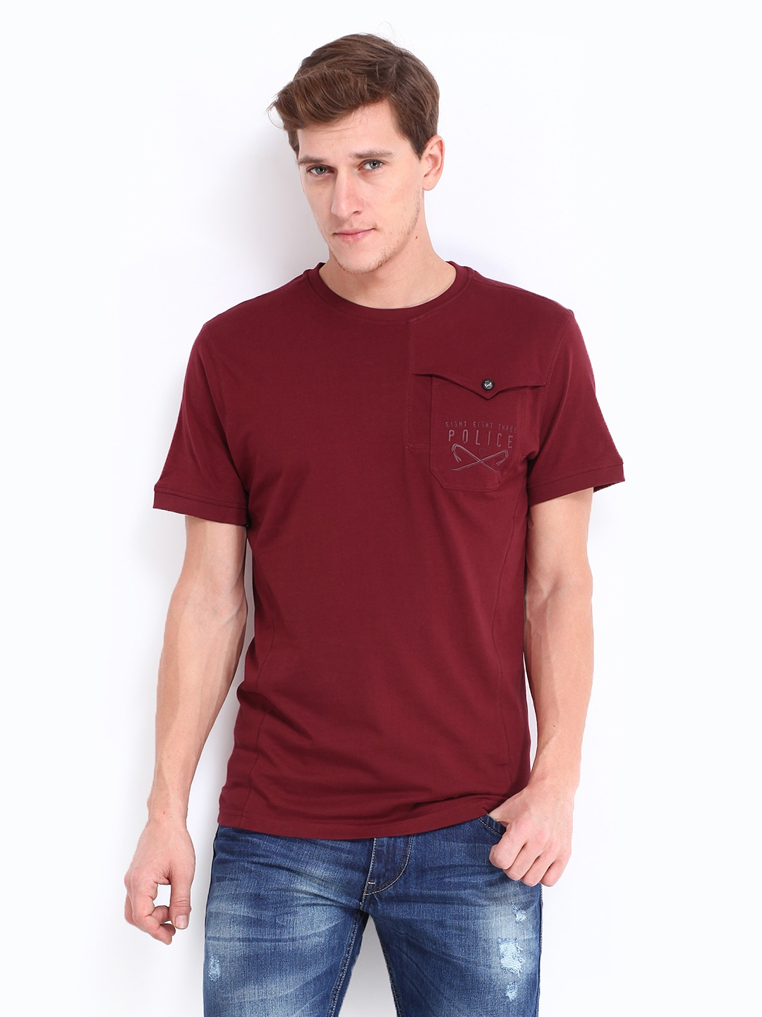 Police 883 Police Men Maroon Claude T-Shirt (Multicolor)