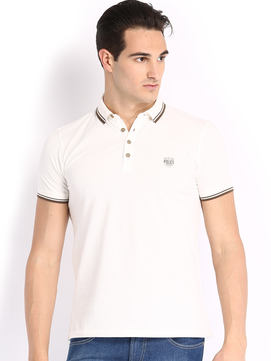 Police 883 Police Men White Polo T-Shirt (Multicolor)