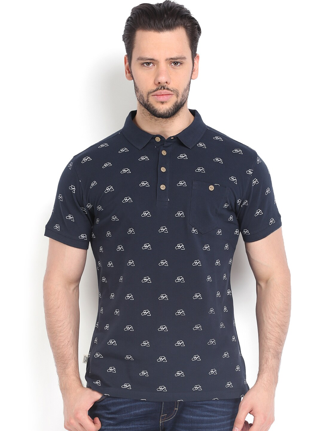 Police 884 Police Men Navy Printed Polo T-Shirt (Multicolor)