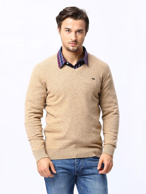 98 Degree North Men Beige Lambswool Blend Sweater
