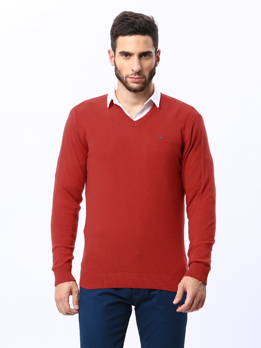 98 Degree North Men Red Lambswool Blend Sweater
