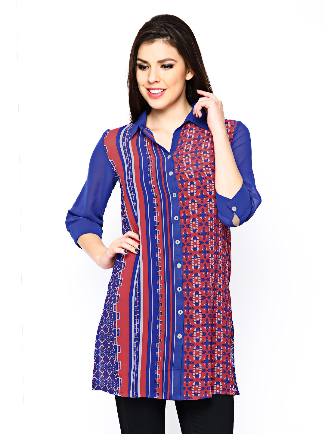 AND by Anita Dogre Women Blue & Red Printed Tunic