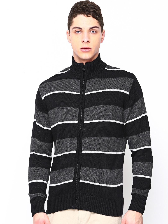 Academics Men Black & Charcoal Grey Striped Cardigan