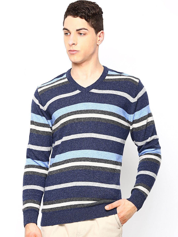 Academics Men Blue Melange & Grey Melange Striped Woollen Sweater