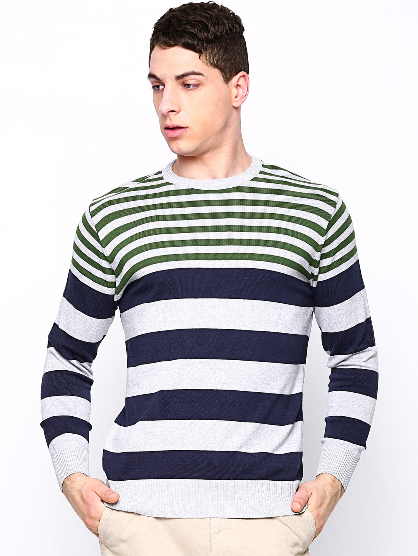 Academics Men Grey Melange Striped Sweater