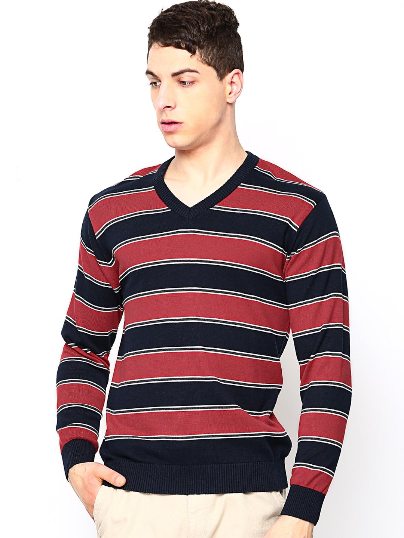 Academics Men Navy & Red Striped Sweater