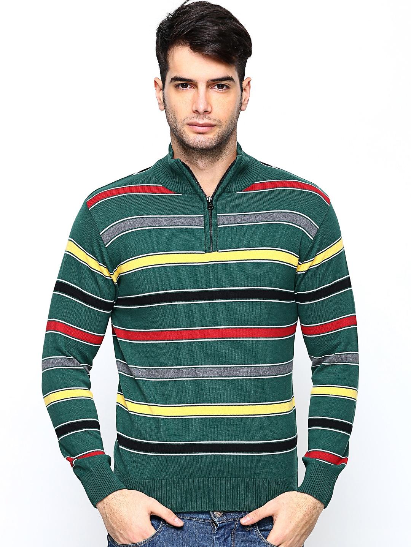 Academics Men Green Striped Sweater