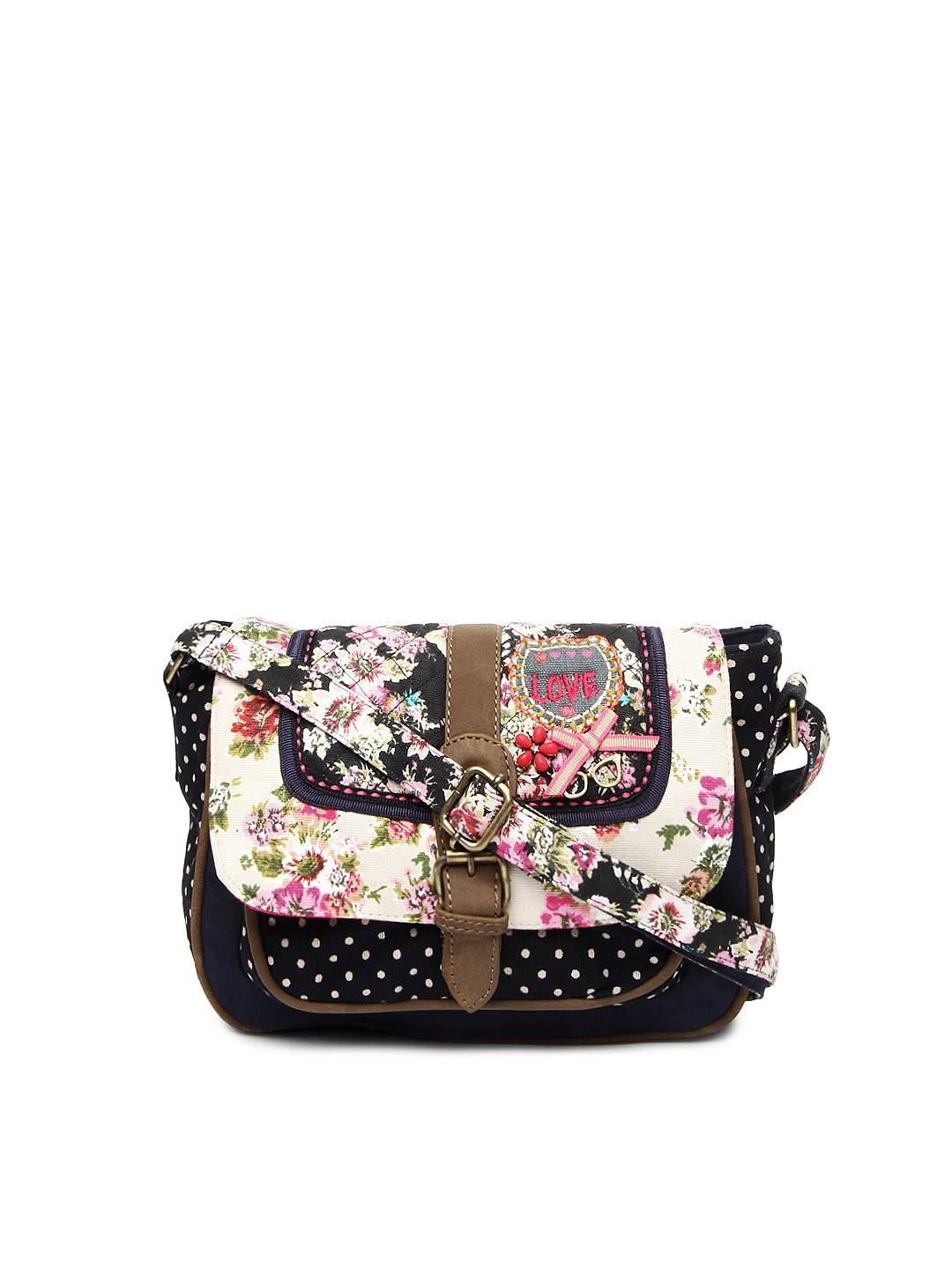 Buy Accessorize Black & Navy Printed Sling Bag (multicolor ...