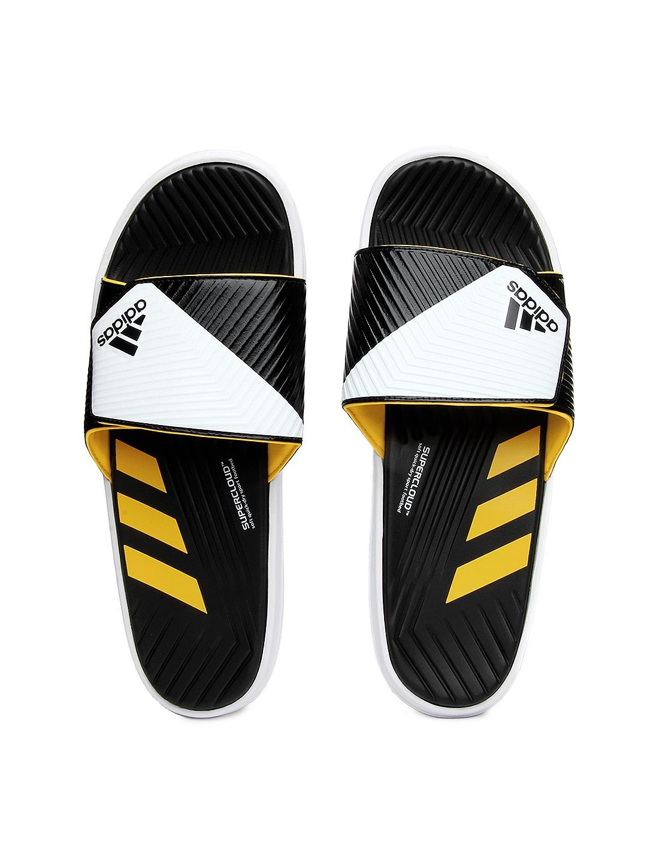 adidas men black and white predator slide flip flops. Black Bedroom Furniture Sets. Home Design Ideas