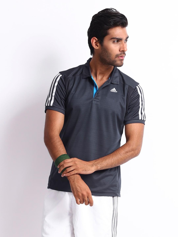 Adidas Adidas Men Charcoal Grey Polo T-Shirt (Multicolor)