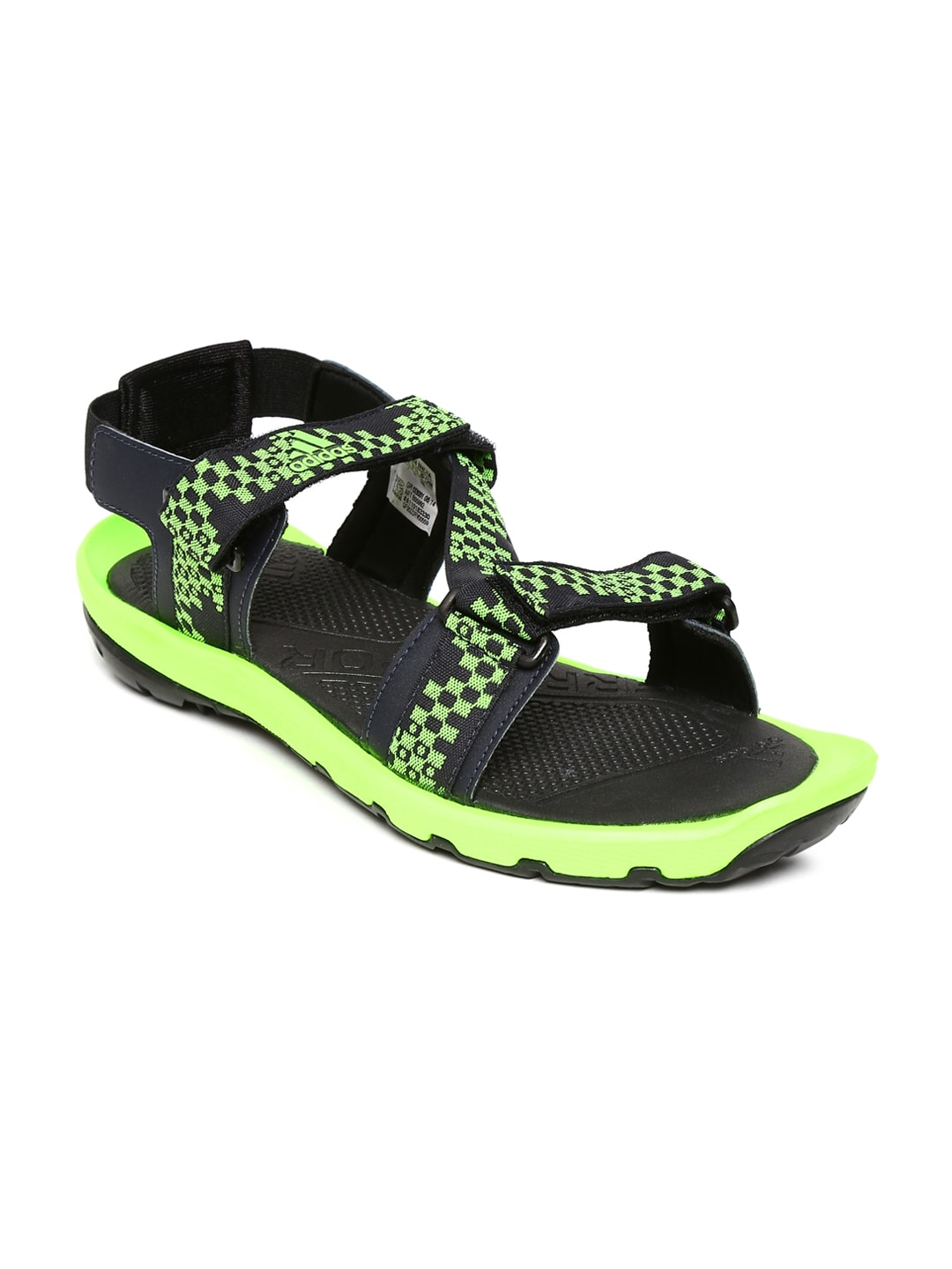 Adidas Adidas Men Grey And Fluorescent Green Kerio Lite Sports Sandals (Multicolor)