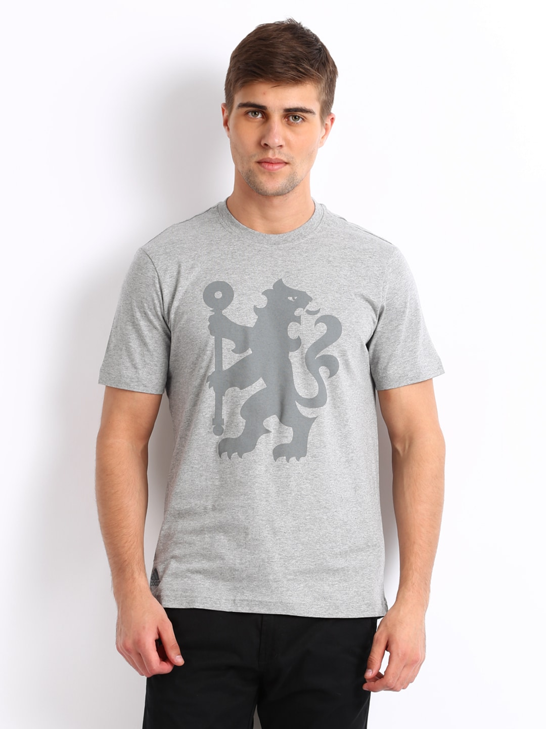 Adidas Adidas Men Grey Melange Chelsea Printed T-Shirt (Multicolor)